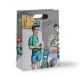 Schrille Papiertragetasche mit ausgestanzten Henkeln und vollfächigem Fotodruck